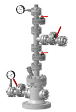 Арматура устьвеая АФК1(Ш)-65х21К1(К2)М4-03. Без задвижки на боковом отводе трубной головки с заглушкой