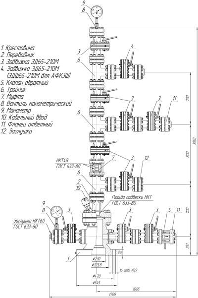 Схема арматуры устьевой АФК3-65х21К1(К2)