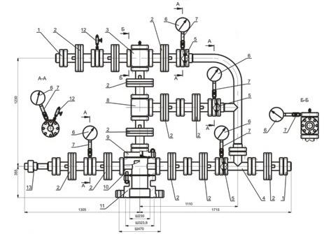 Схема комплекта устьевого