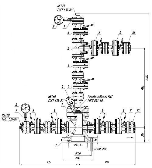 Схема арматуры устьевой