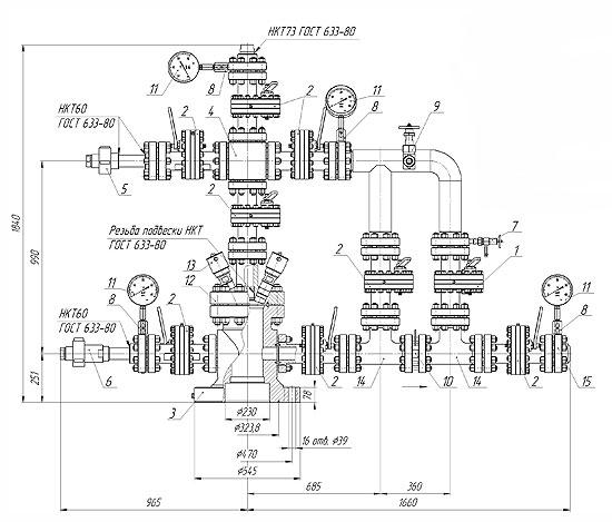 Схема комплекта устьевого АФК