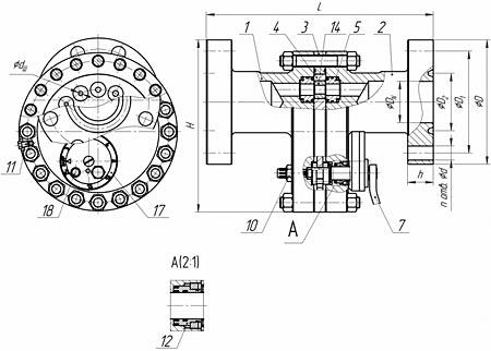 Общий вид задвижки модели ЗДШ (со встроенными штуцерами)